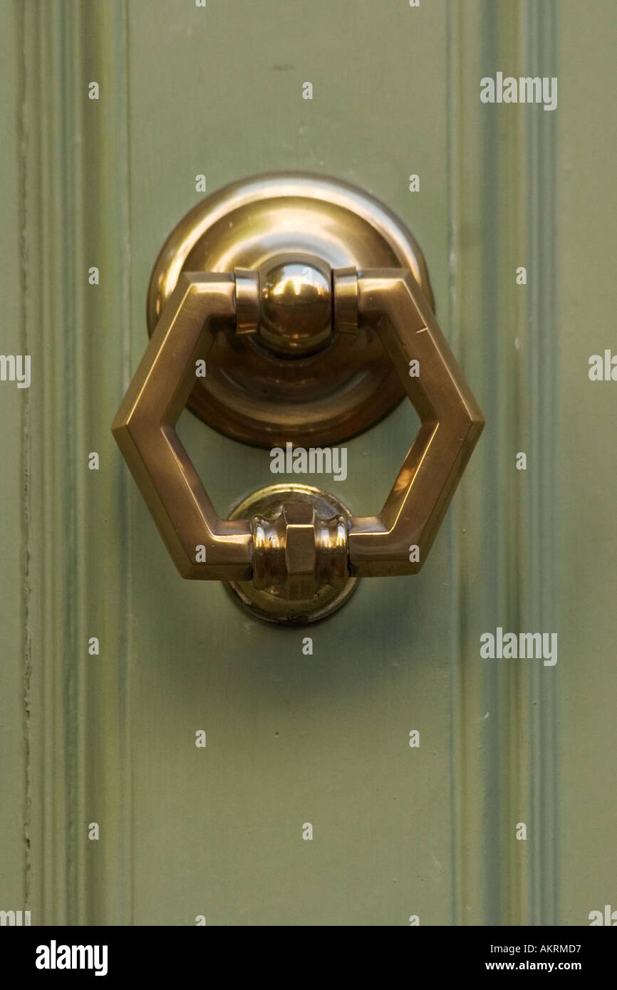 Picture of: Antique Brass Door Knocker Shaped Like A Hexagon On Light Green Stock Photo Alamy