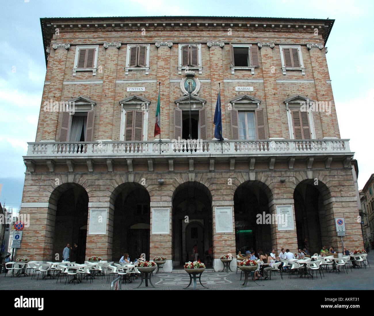 Macerata Town Hall Palazzo dei Priori Piazza della Liberta Italy - Stock Image