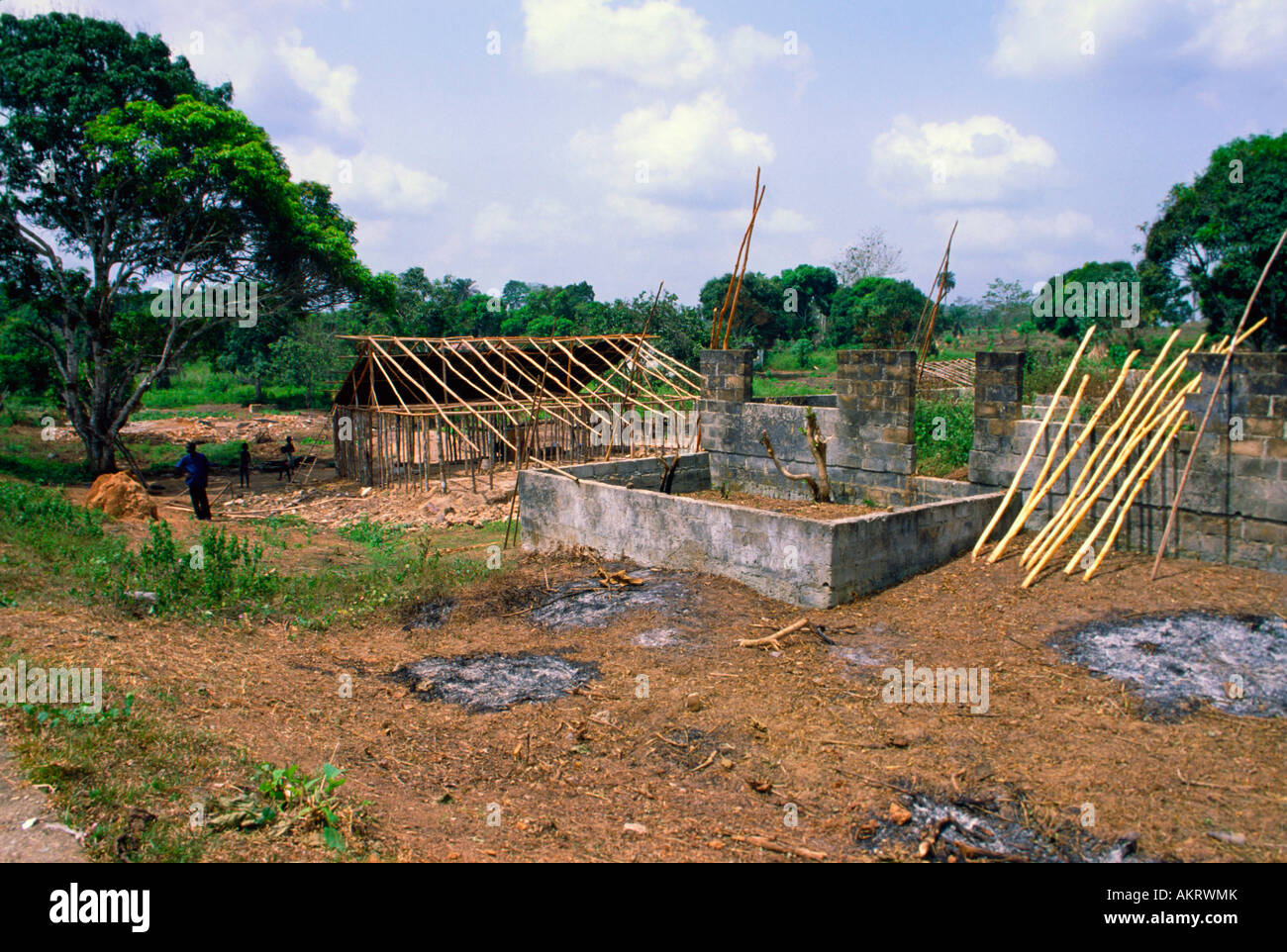 Housing reconstruction in the aftermath of civil war Zwedru Liberia - Stock Image