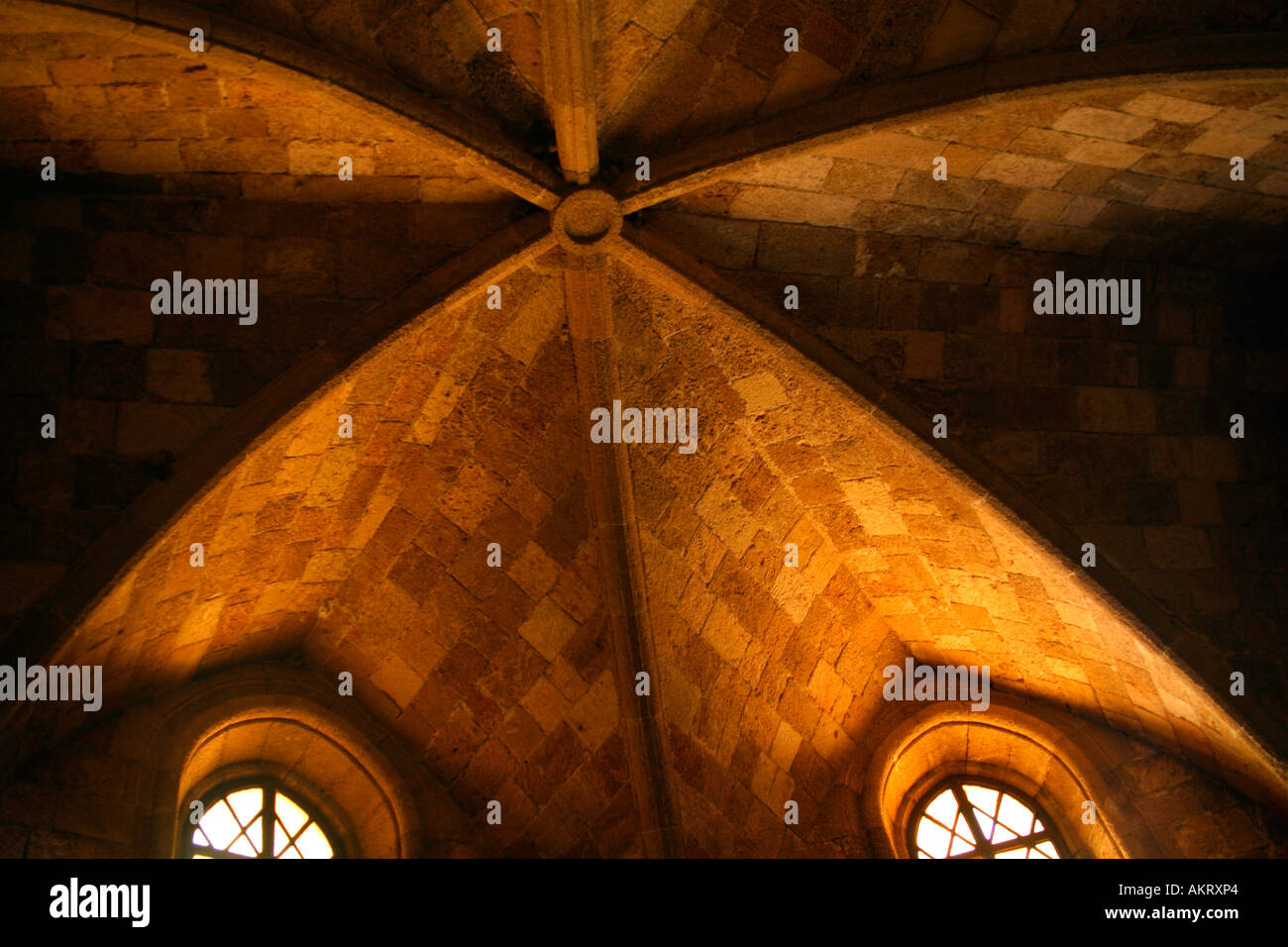 The wonderful ceiling of the church in the Filerimos acopolis, Rhodes - Stock Image