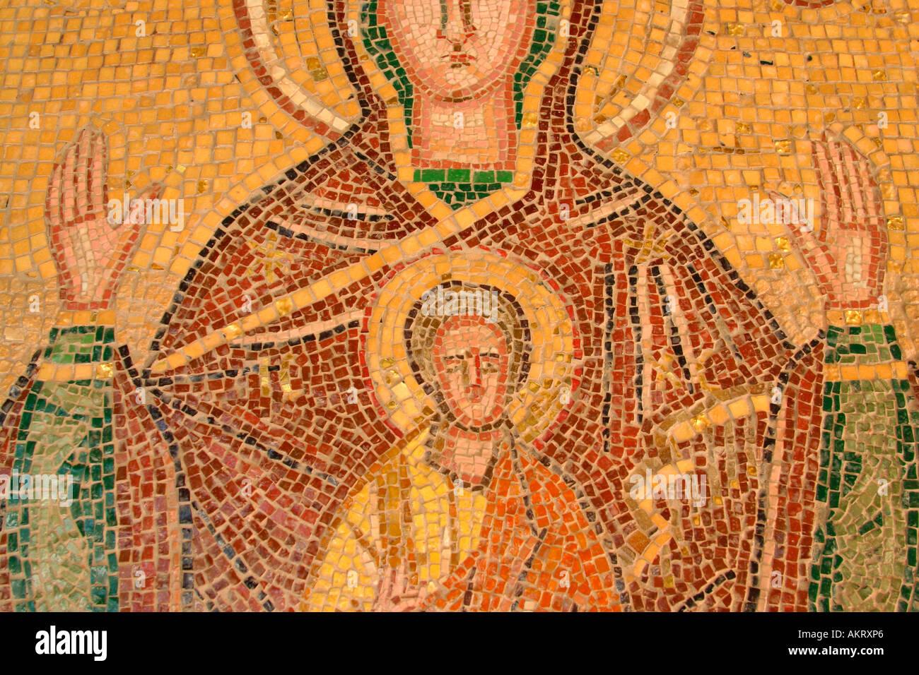 A mosaic at the Filerimos acropolis, Rhodes - Stock Image