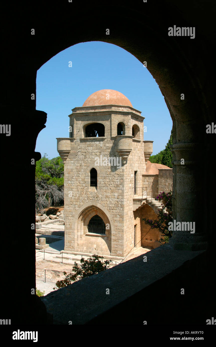 A framed image of the church in Filerimos, Rhodes Island - Stock Image
