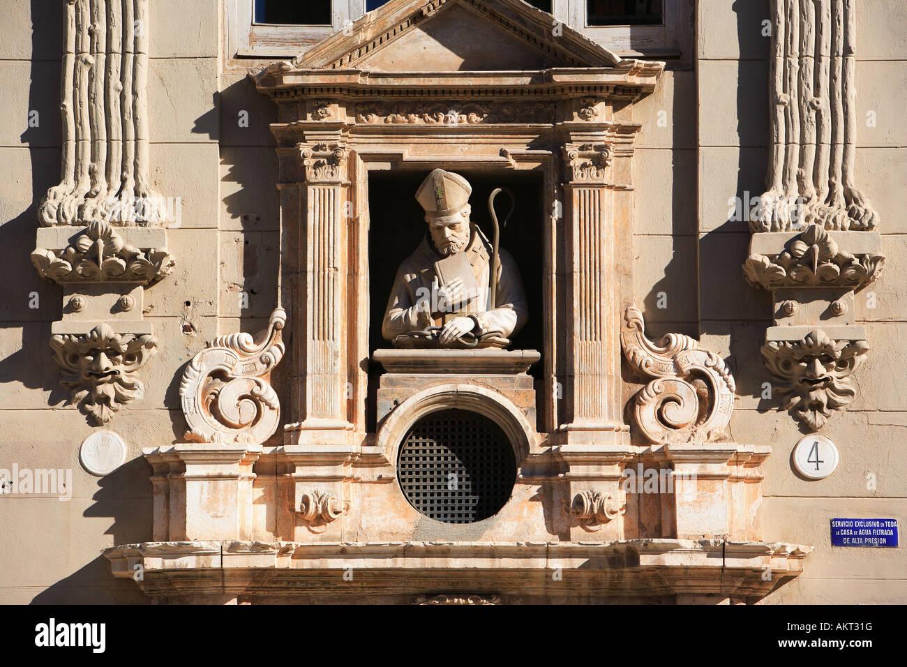 Spain, Valencia, sculpted façade of the edifice Punt De Ganxo - Stock Image