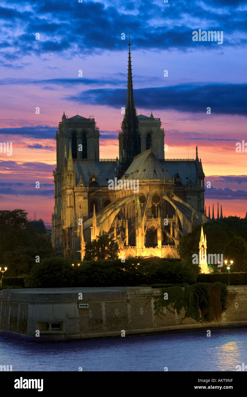 notre dame cathedral at night in paris france - Stock Image