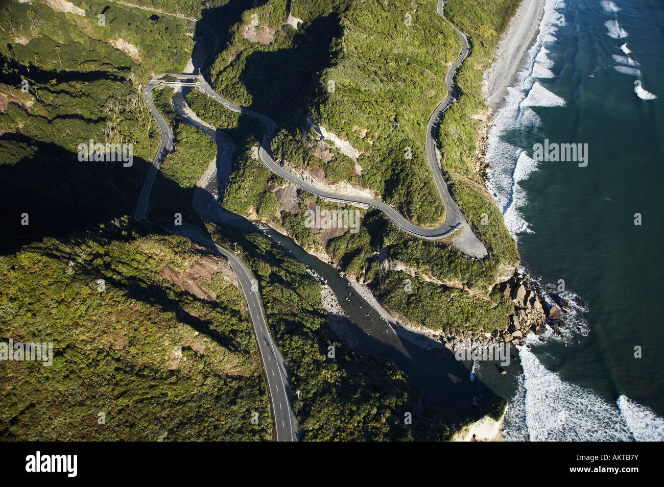 State Highway Six at Ten Mile Creek north of Greymouth West Coast South Island New Zealand aerial - Stock Image