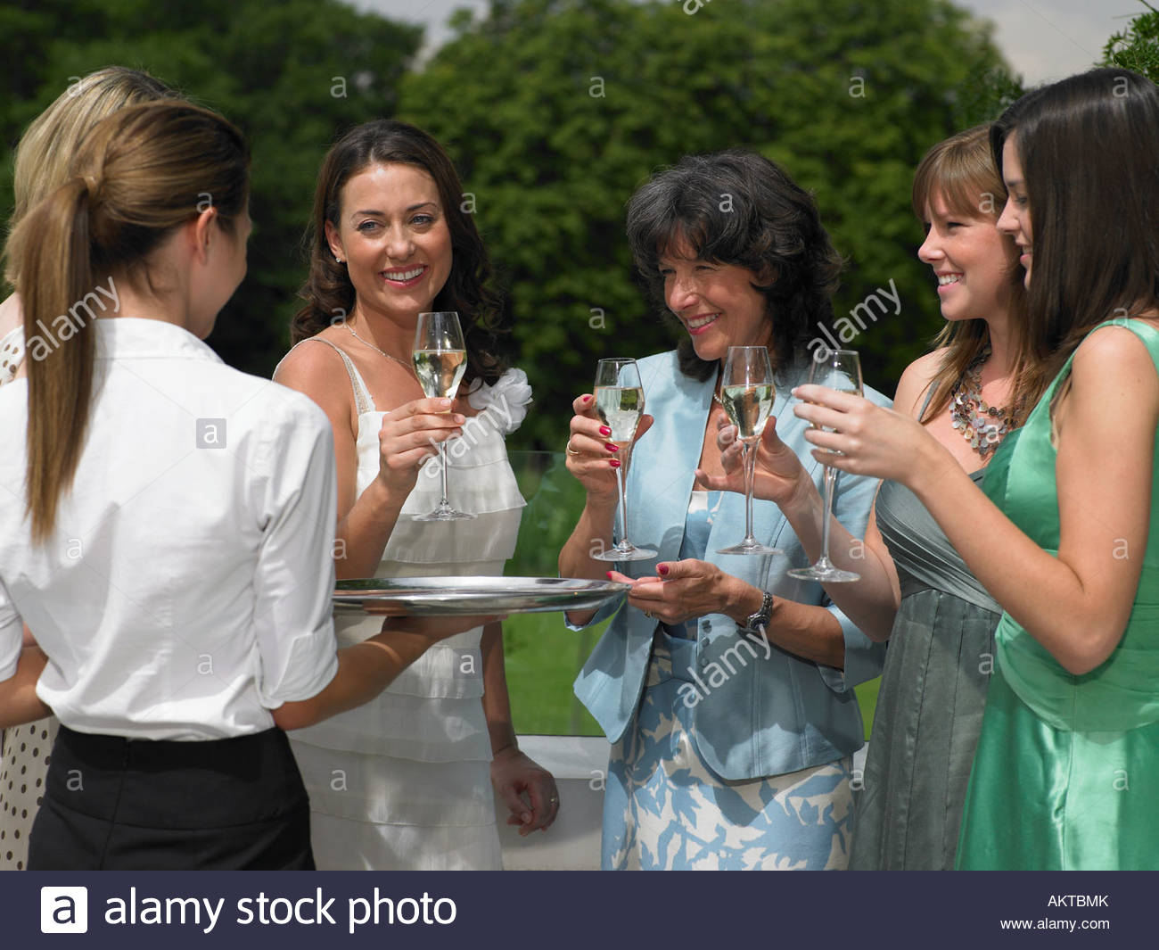 The bride and female wedding guests - Stock Image