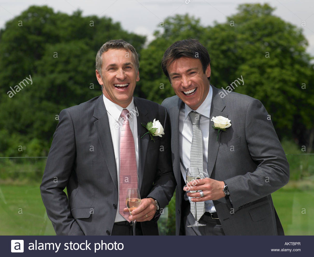 Portrait of the groom and the bestman - Stock Image
