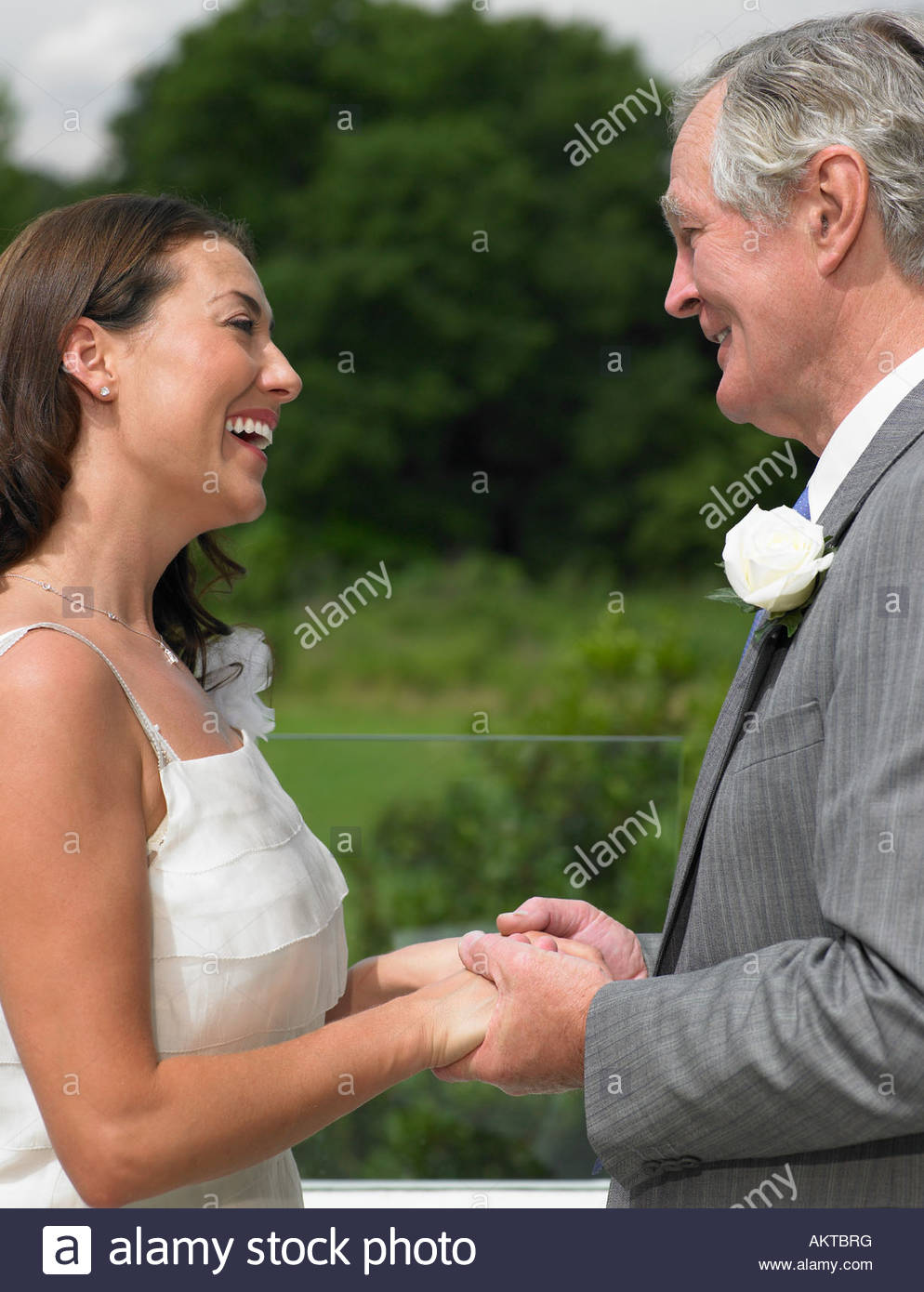The bride and her father holding hands - Stock Image