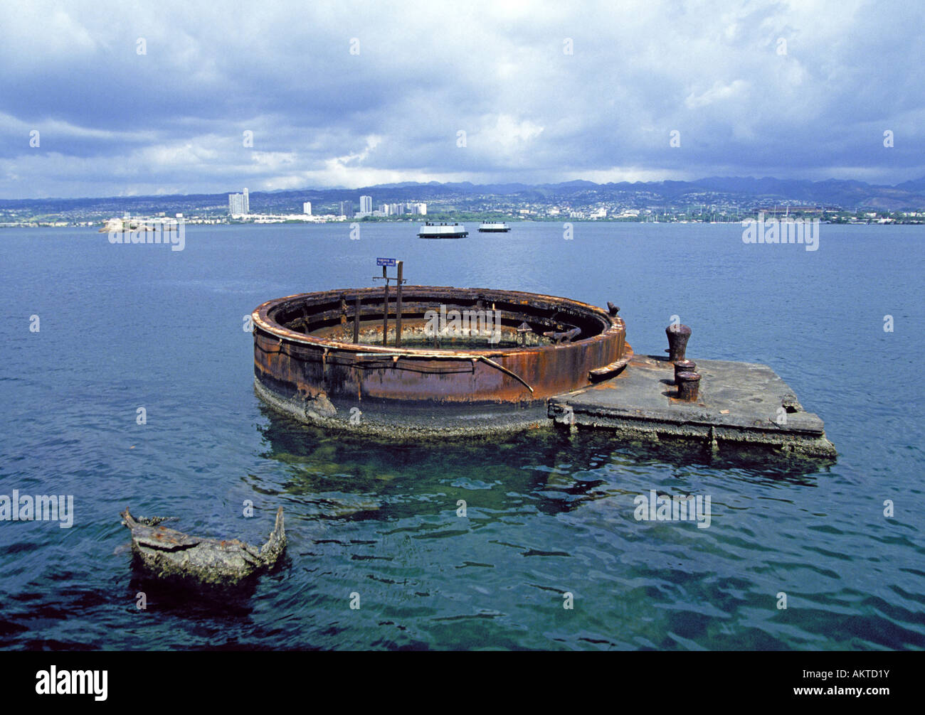 A view of the gun turret of the USS Arizona at the Arizona Memorial at Pearl Harbor Stock Photo