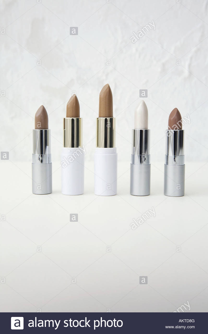 Five lipsticks in a row - Stock Image