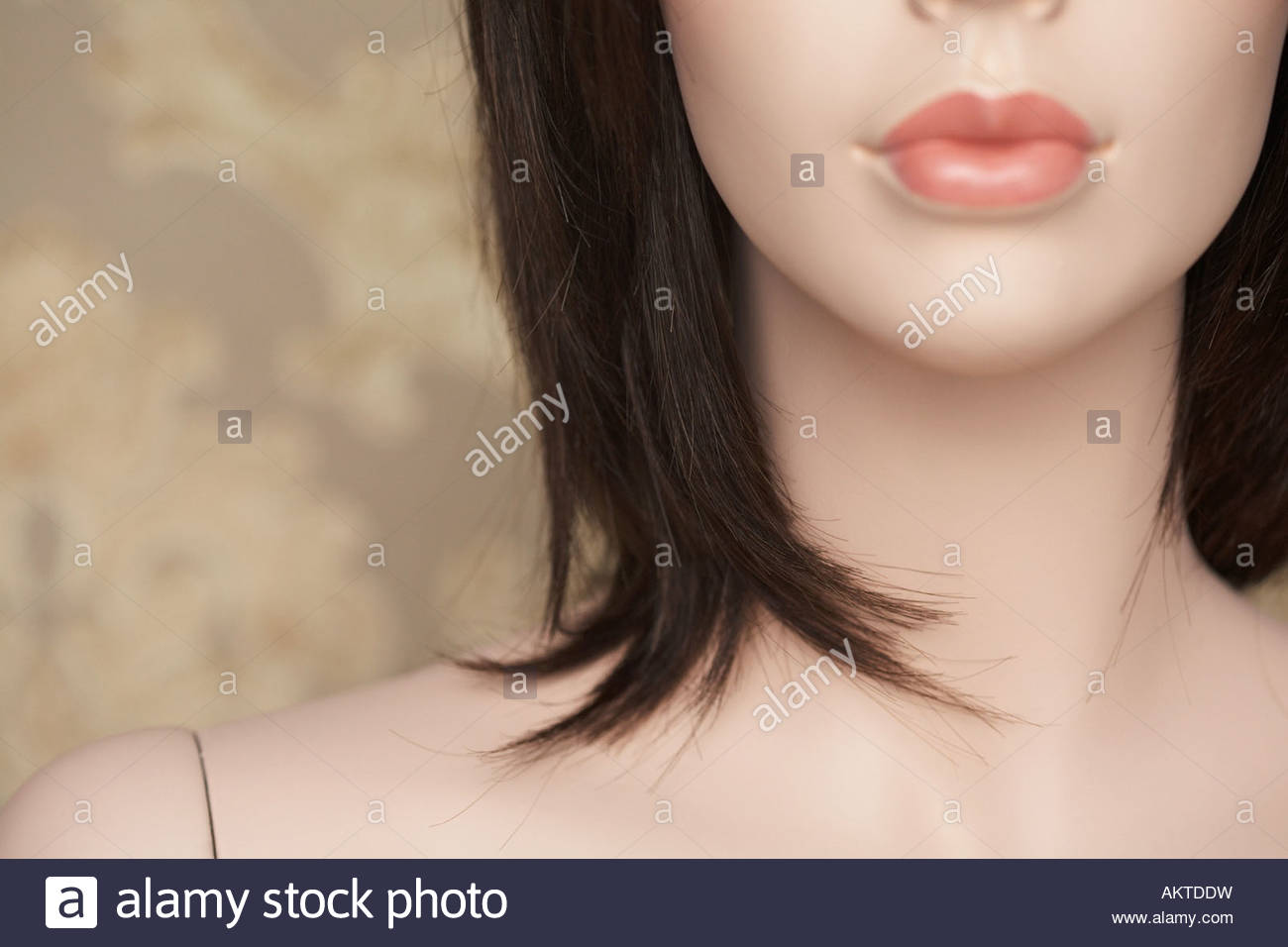 Cropped face of a female mannequin - Stock Image