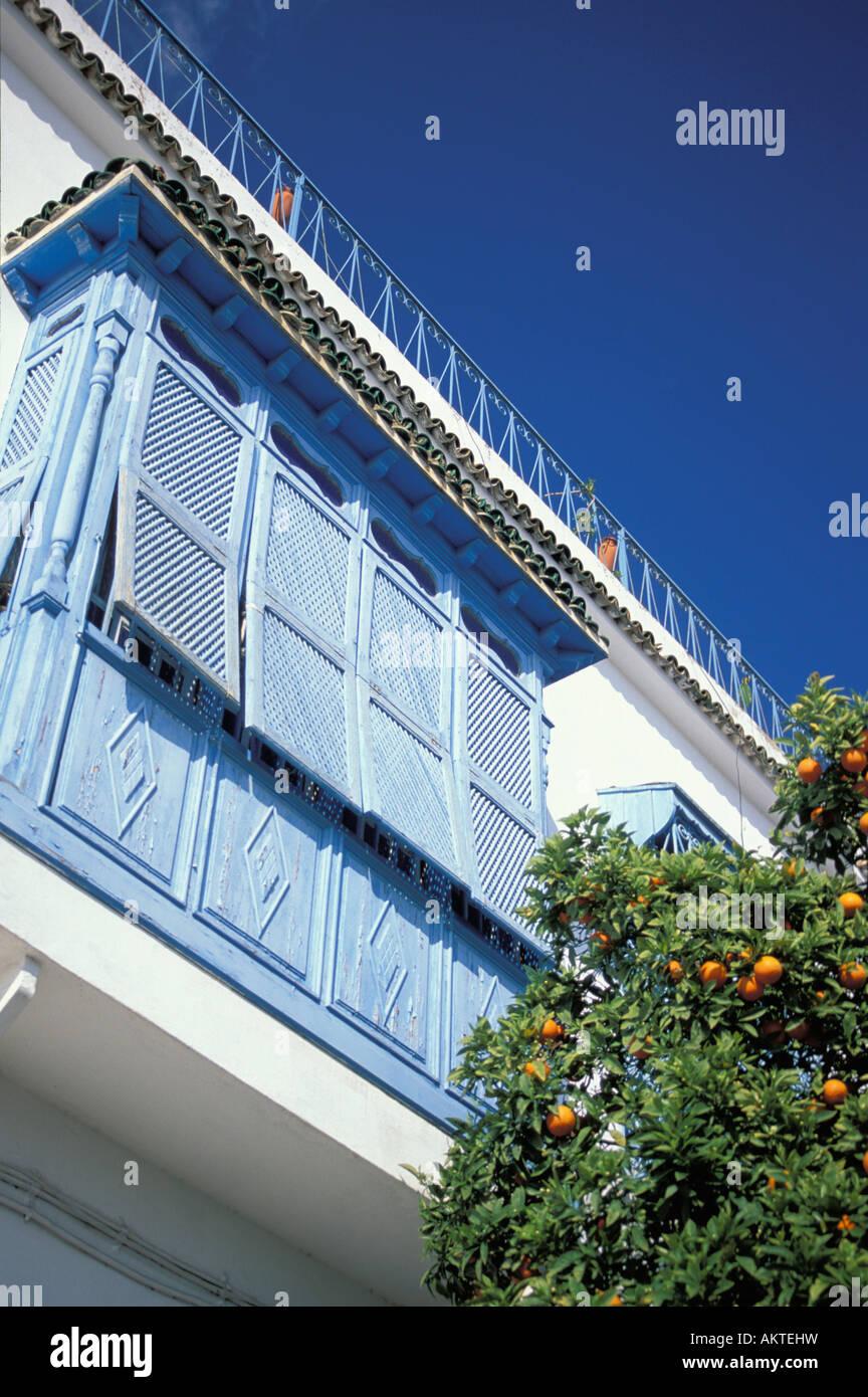 Balcony Sidi Bou Said Tunesia - Stock Image