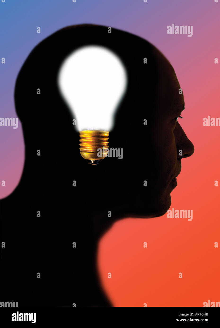 light bulb in man s head - Stock Image
