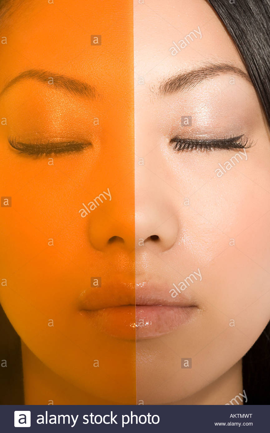 Plastic covering a womans face - Stock Image