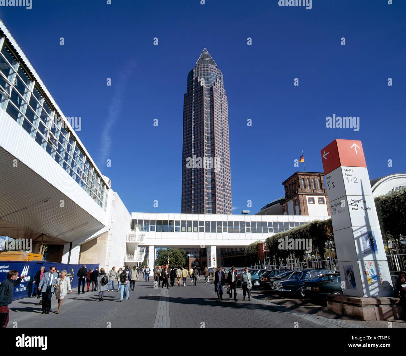 D-Frankfurt on the Main, Hesse, trade, fair, exhibition site during the Frankfurt Book Fair, Fair Tower, skyscraper, - Stock Image