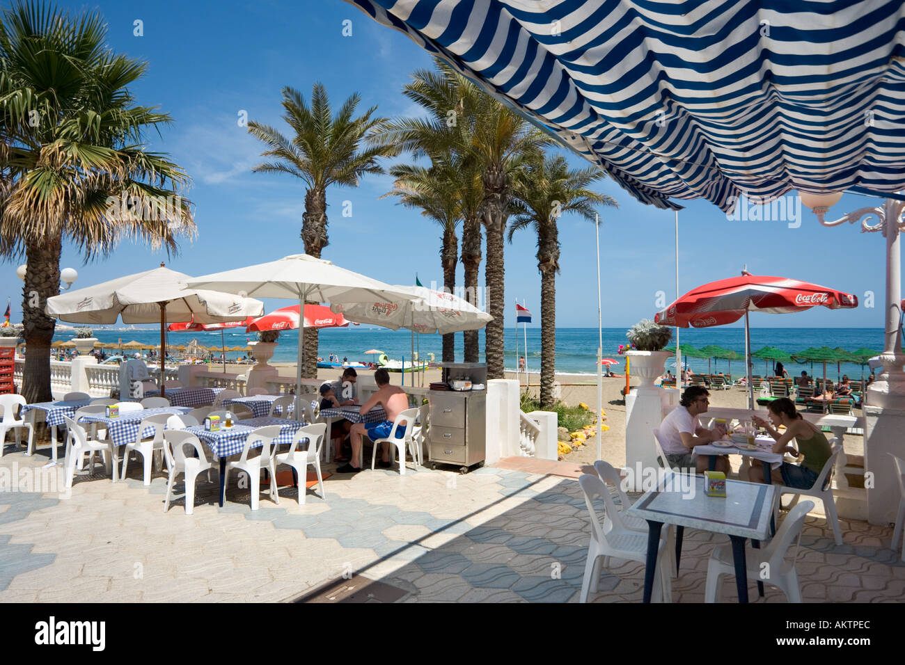 Seafront Cafe, Benalmadena, Costa del Sol, Andalucia, Spain - Stock Image