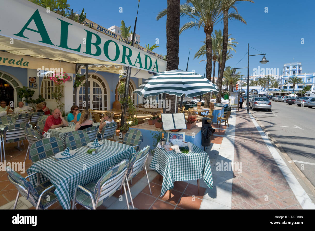 Restaurant in the Marina, Estepona, Costa del Sol, Andalucia, Spain - Stock Image