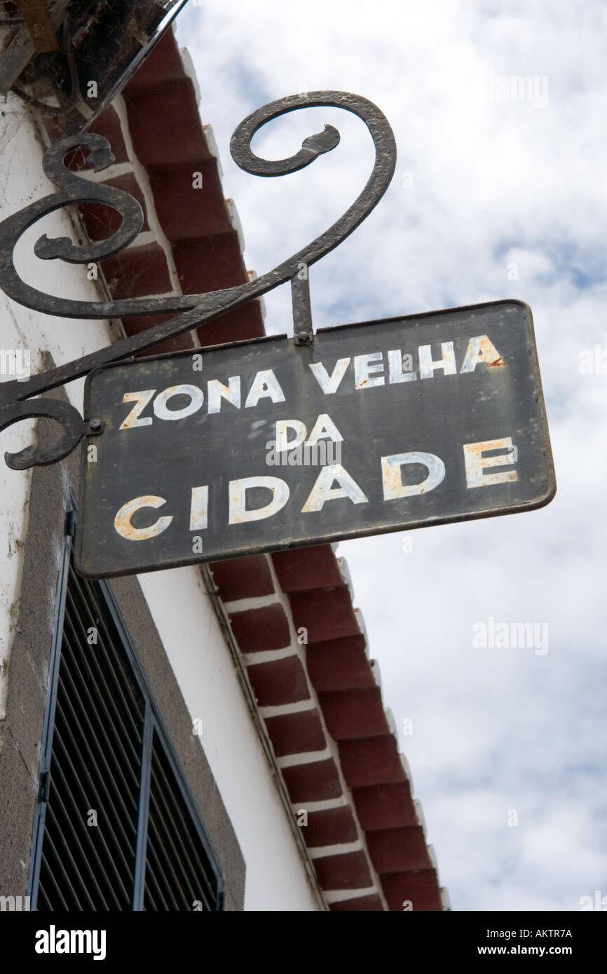 Sign for the Old Town (Zona Velha), Funchal, Madeira, Portugal - Stock Image