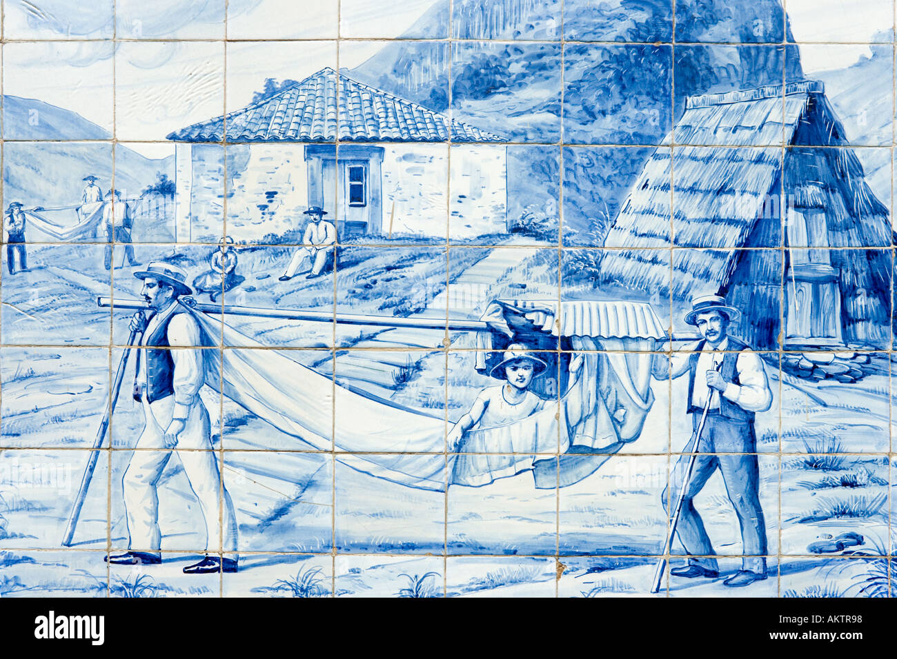 Mural on the side of theToyota Dealership Building, Avenida Arriaga, Funchal, Madeira, Portugal Stock Photo