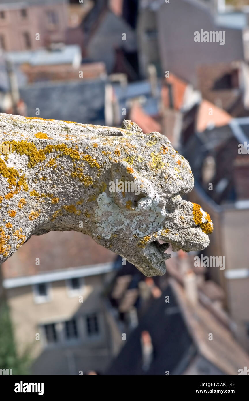 Chartres France Exterior 'Notre Dame Cathedrale' Overview of City Center from Top of Cathedral Gargoyle - Stock Image