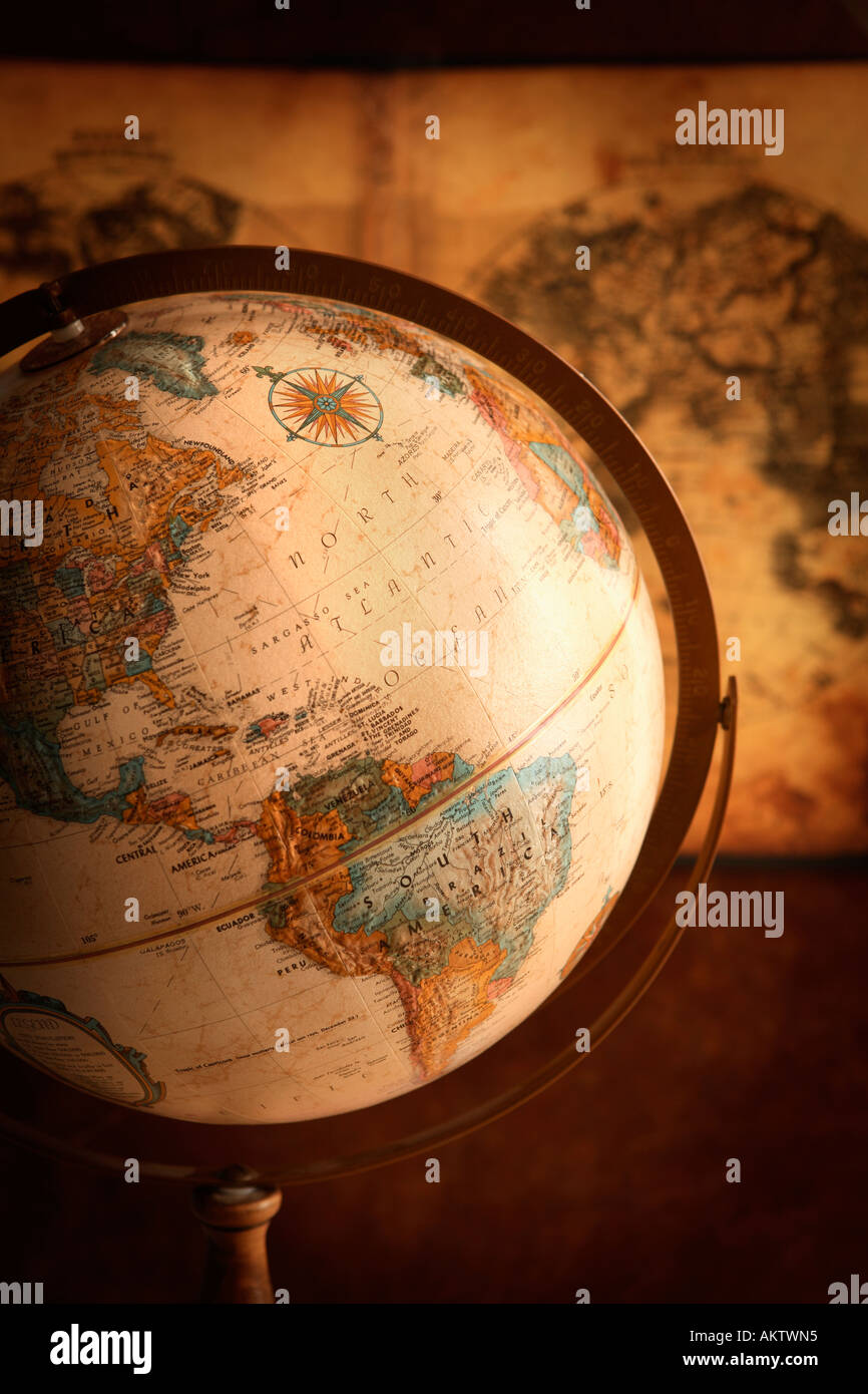 Antique Globe and Map - Stock Image