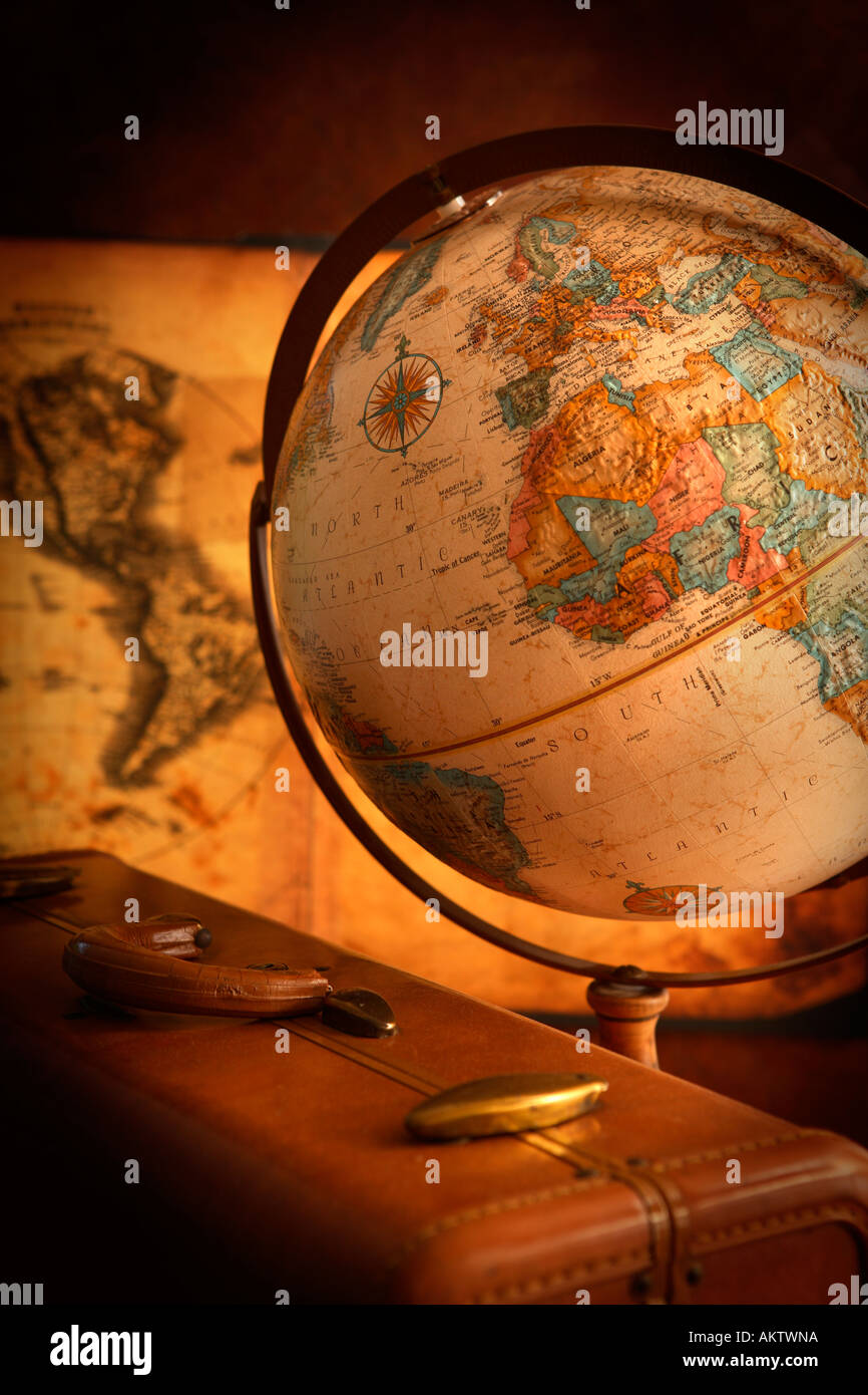 Old Globe, Map and Suitcase - Stock Image
