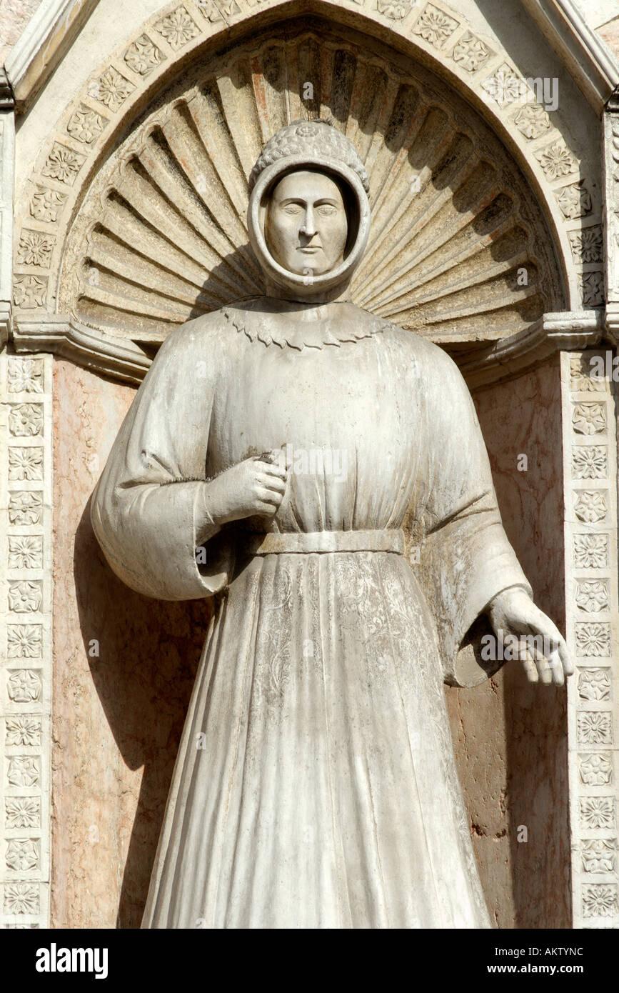 Ferrara Italy Marble sculpture on the facade of the Duomo Stock Photo
