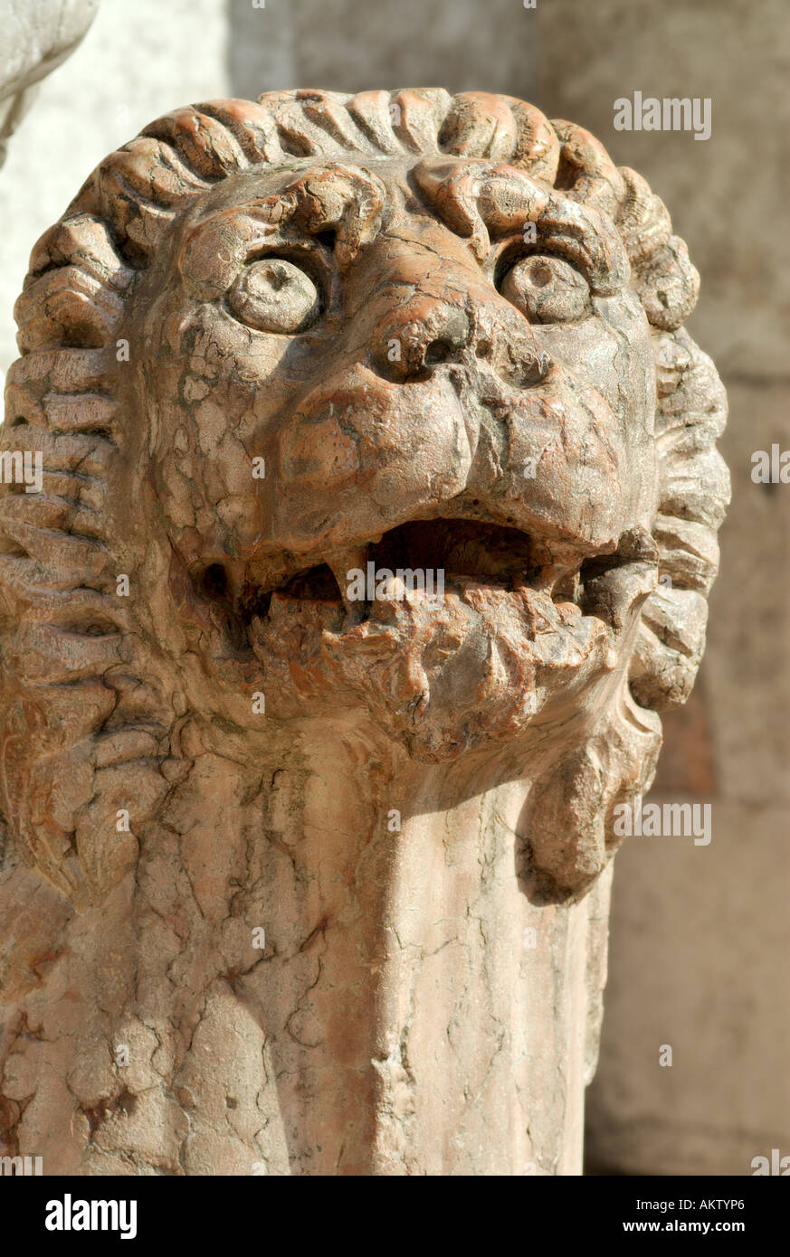Ferrara Italy Marble sculpture of a lion outside the Duomo Stock Photo