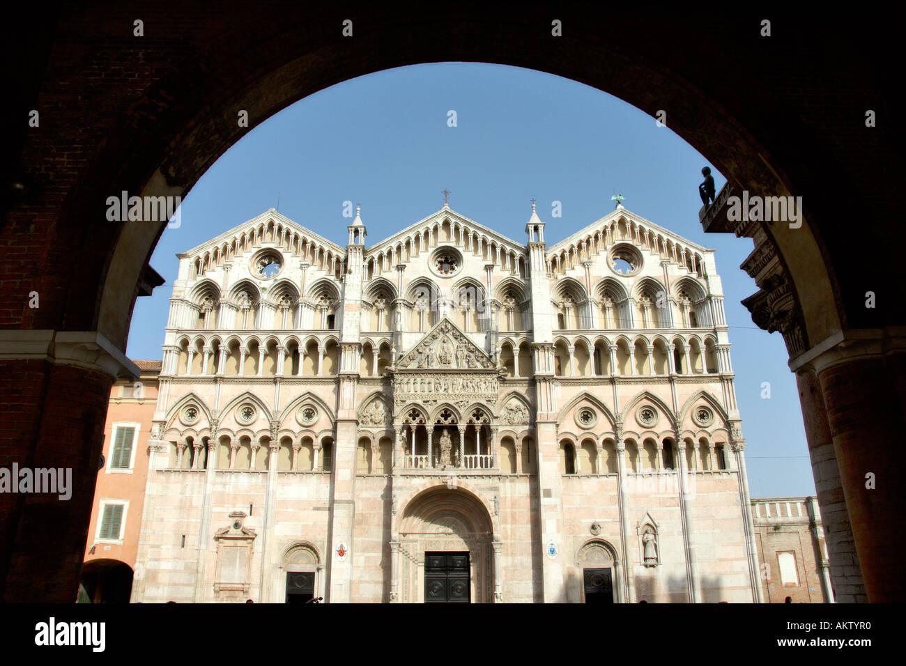 Ferrara Italy Triple facade of the 12th C Duomo - Stock Image
