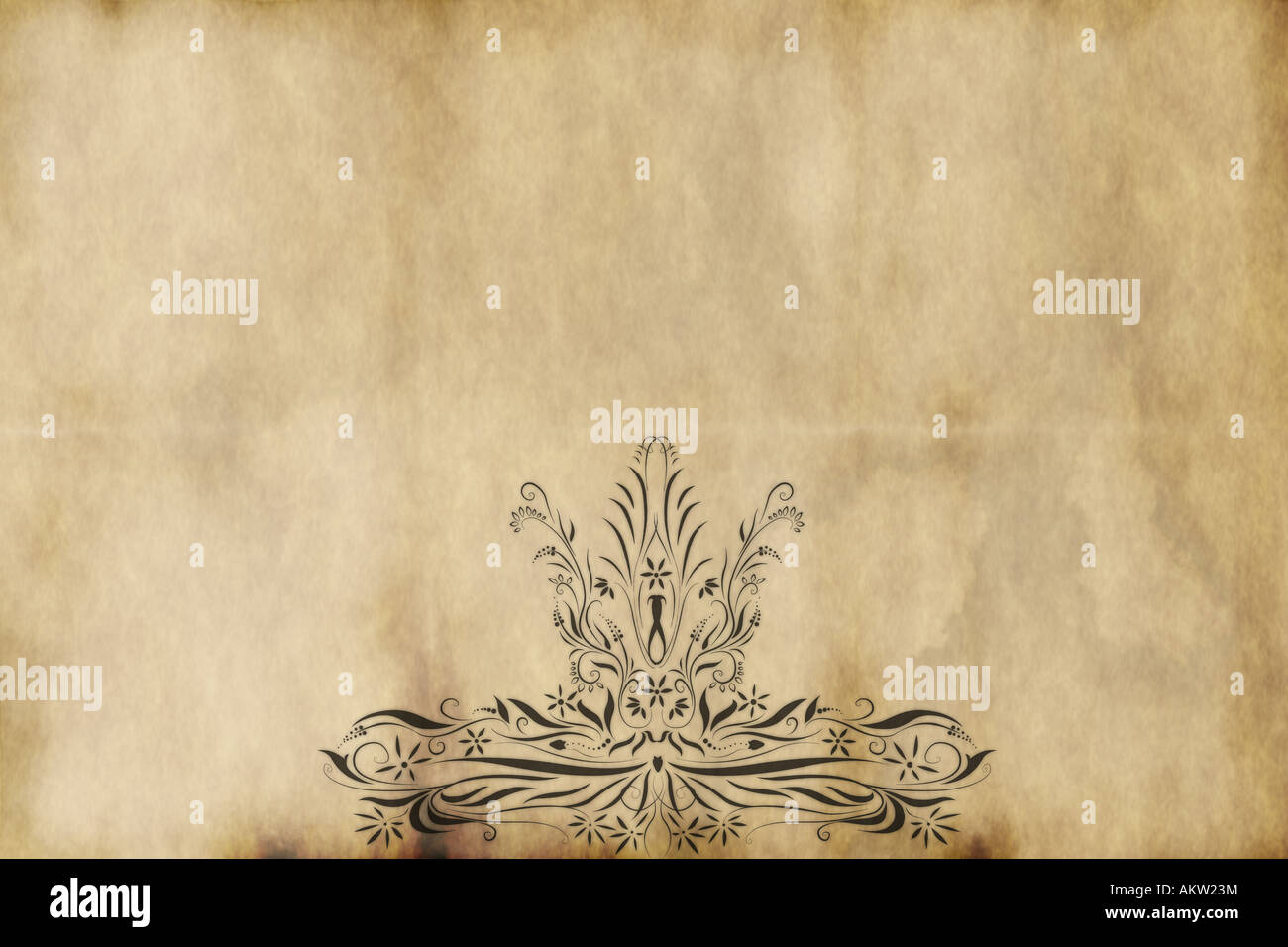 regal style design printed on old paper - Stock Image