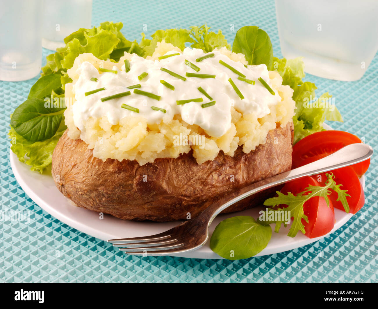 Phenomenal Baked Potato With Cottage Cheese And Chives Stock Photo Interior Design Ideas Gentotryabchikinfo