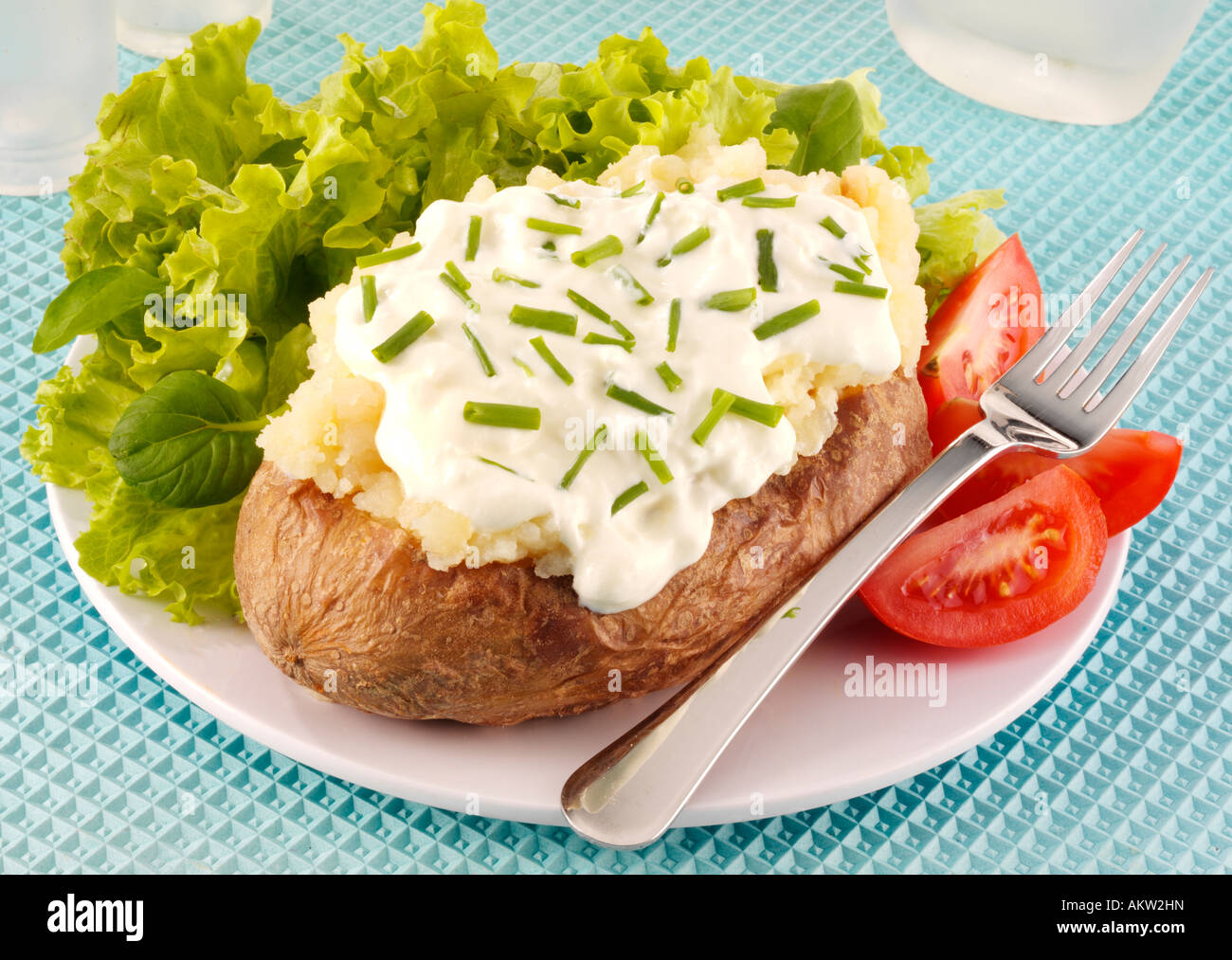 baked potato with cottage cheese and chives stock photo 15075632 rh alamy com baked potato and cottage cheese healthy baked potato with cottage cheese and salsa