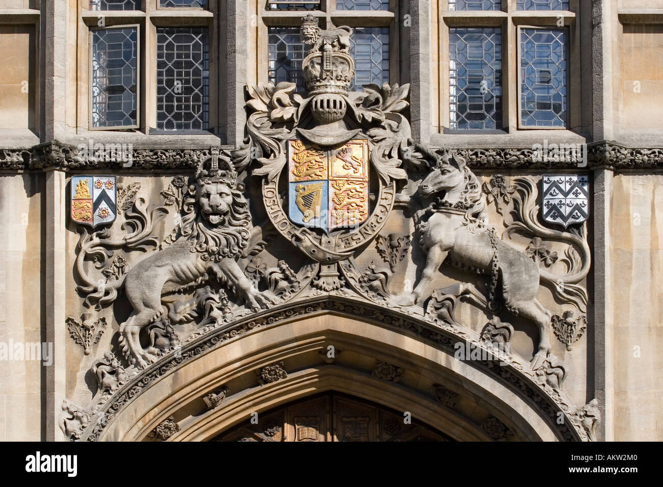Royal coat of arms above entrance to Brasenose College Oxford Stock Photo