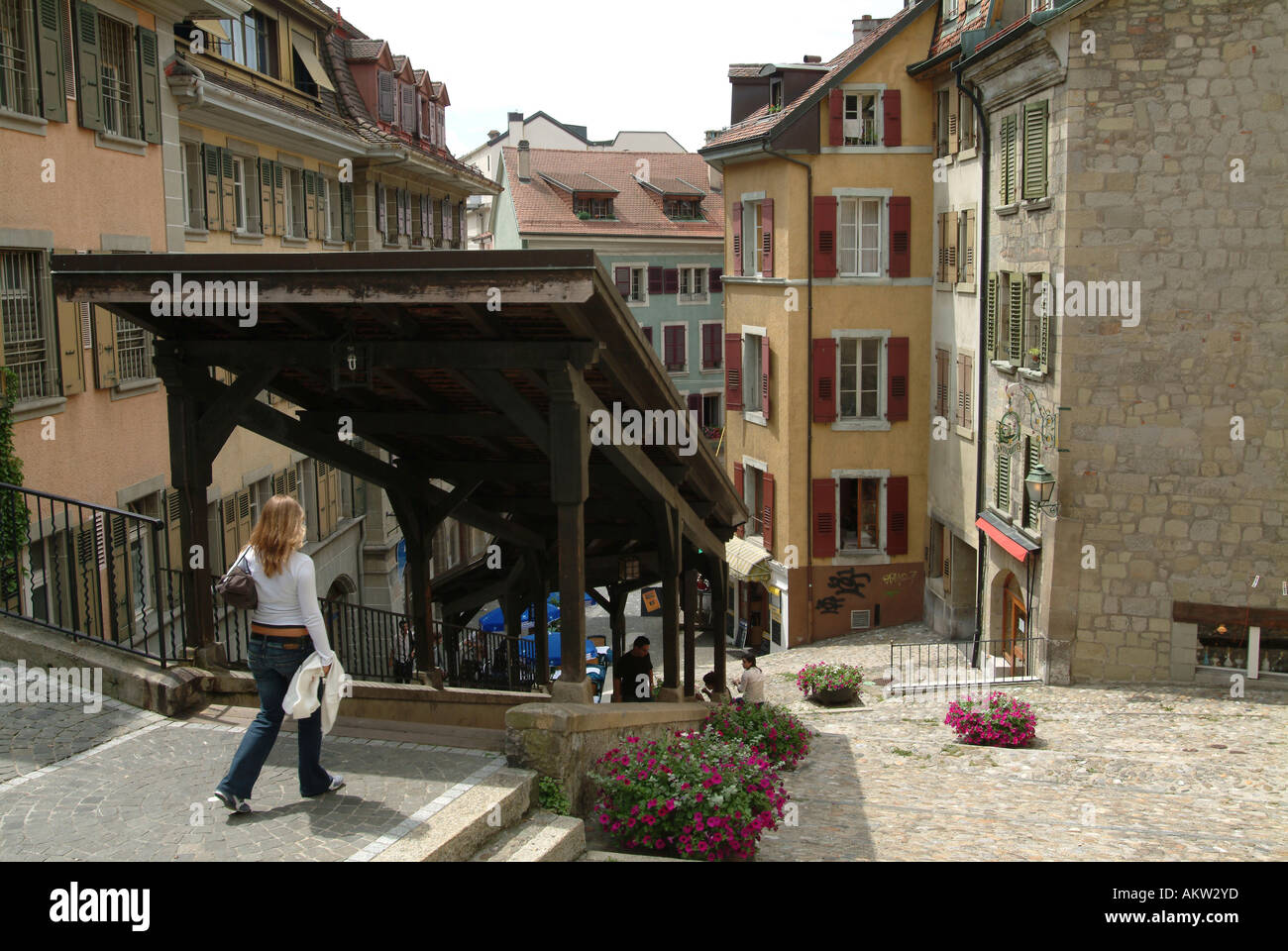 Lausanne. Escaliers du Marche. Wooden steps leading down from Notre Dame Cathedral to old town. - Stock Image