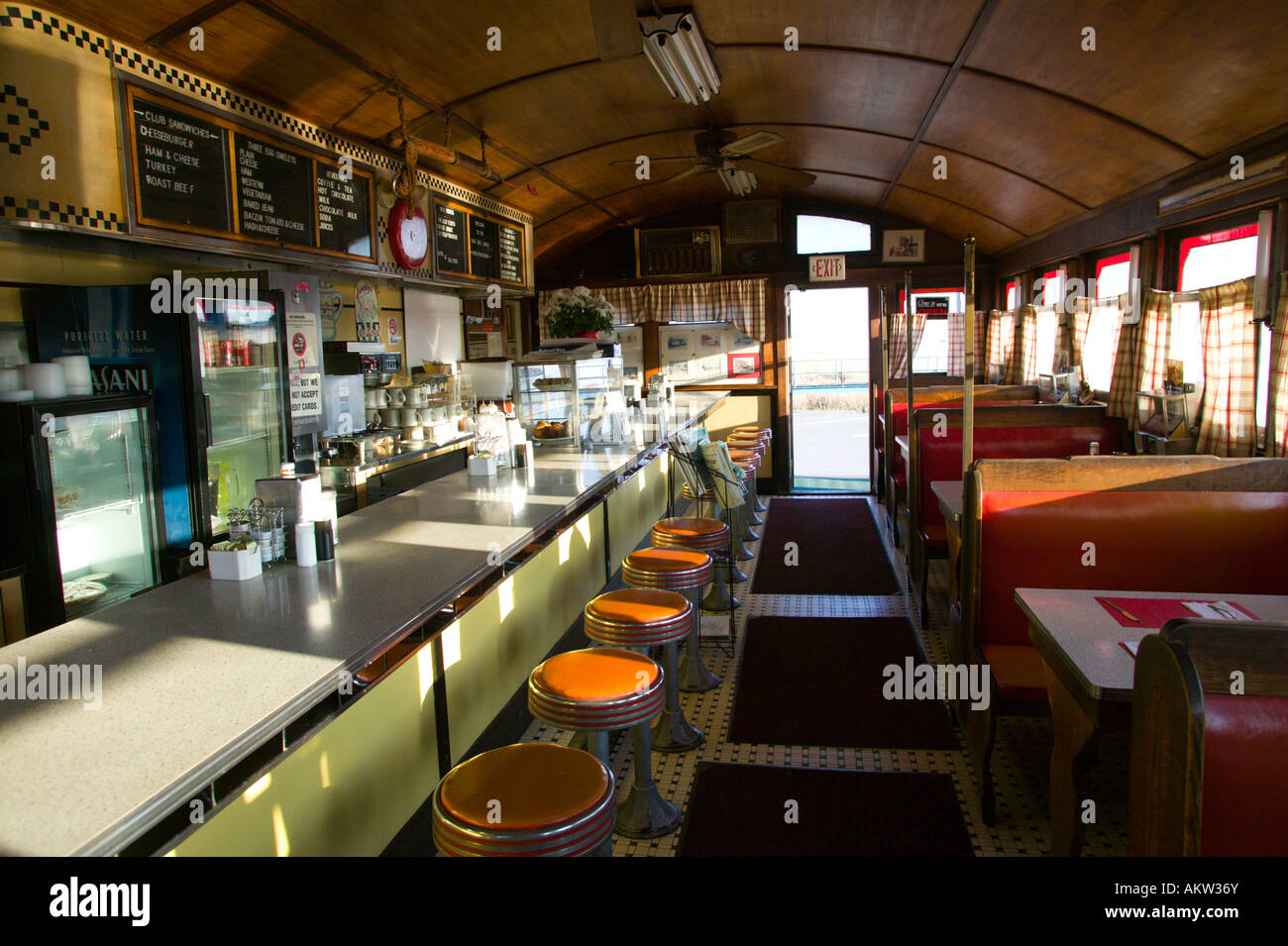 Interior Of Vintage Diner Restaurant Stock Photo Alamy