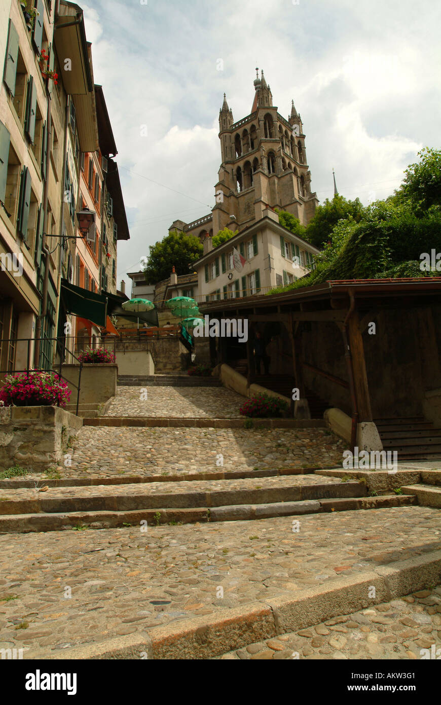 Lausanne. Escaliers du Marche. Wooden steps leading up to Notre Dame Cathedral. - Stock Image