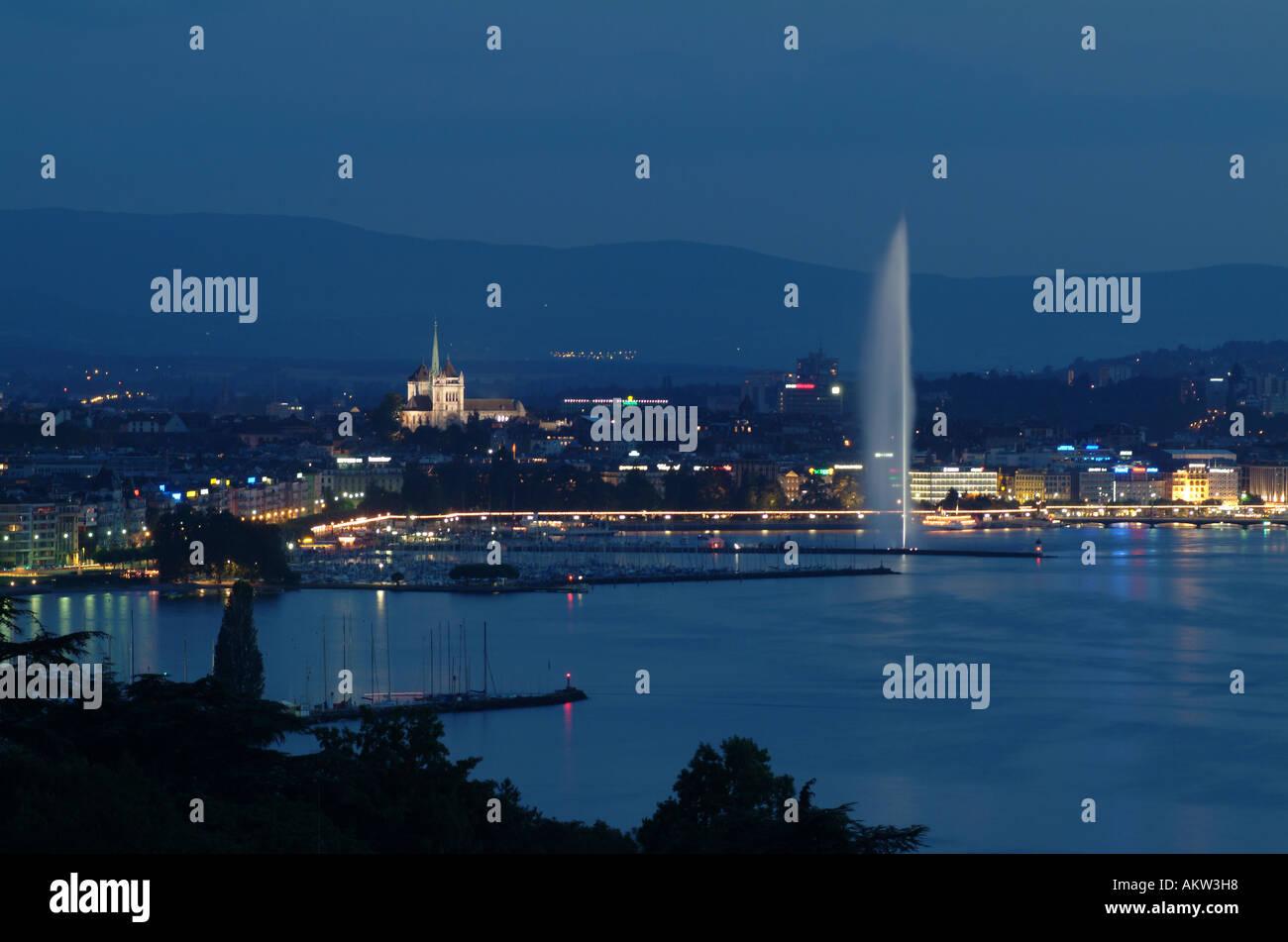 Geneva. Genève. Jet d'Eau. Lac Leman by night. - Stock Image