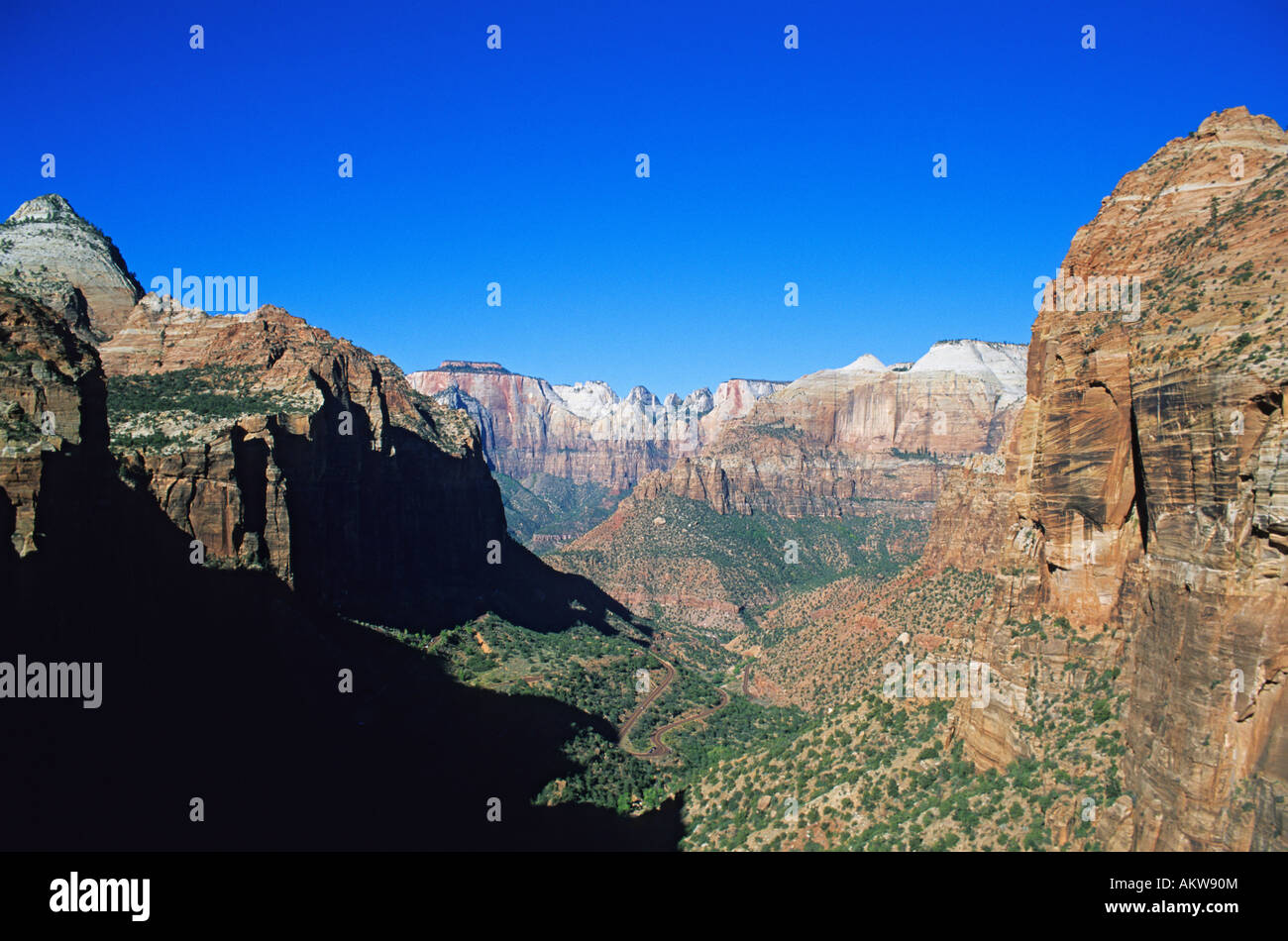Unites States, Utah, Zion National Park, view of rock formations seen from Angels Landing - Stock Image