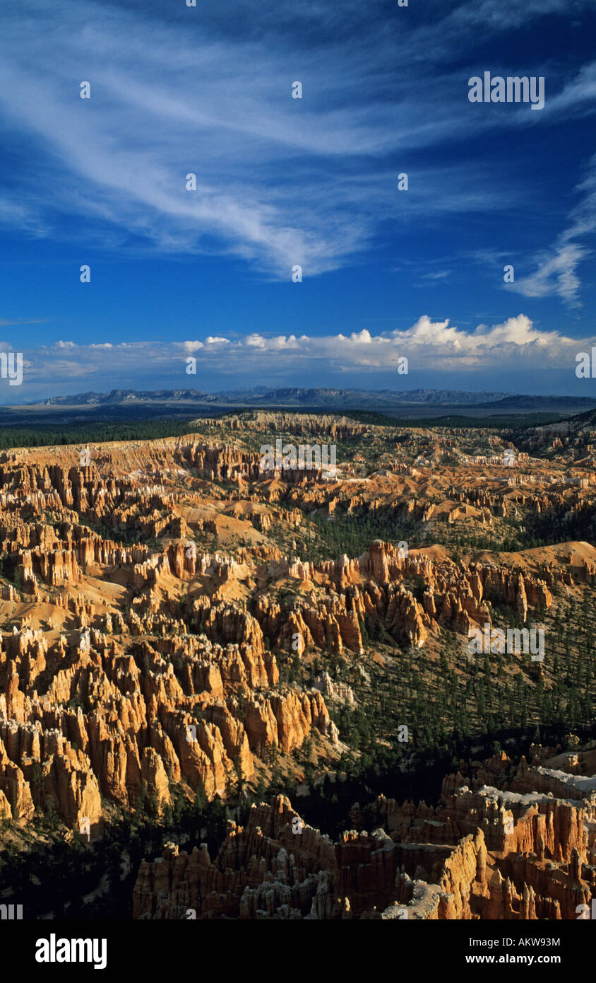 Unites States, Utah, Bryce Canyon National Park, amphitheatre of Hoodoo rock formations, seen from Fairyland Point - Stock Image