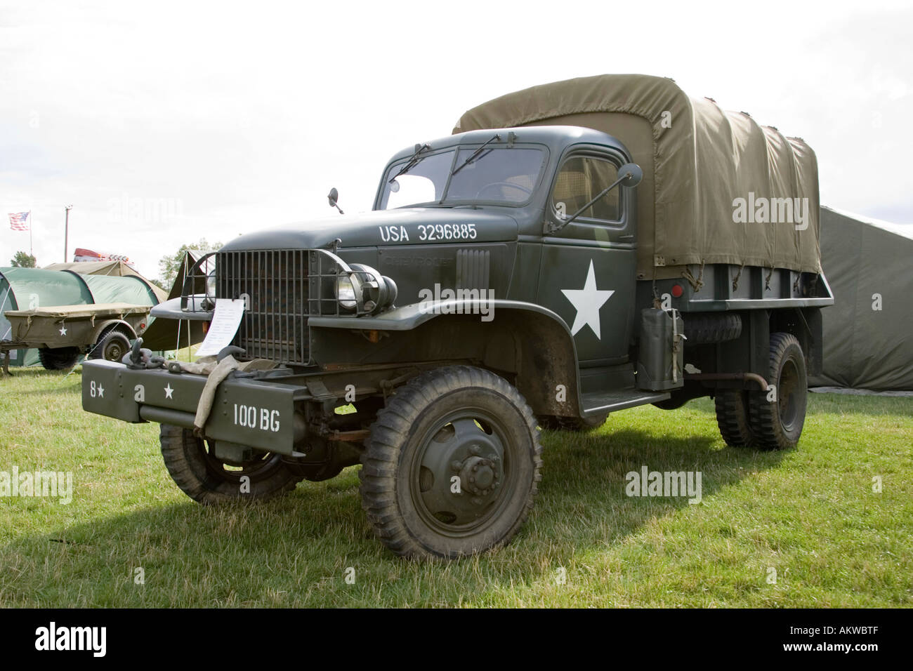 WW2 US military truck at an air show at Rougham in Suffolk 2006, UK - Stock Image