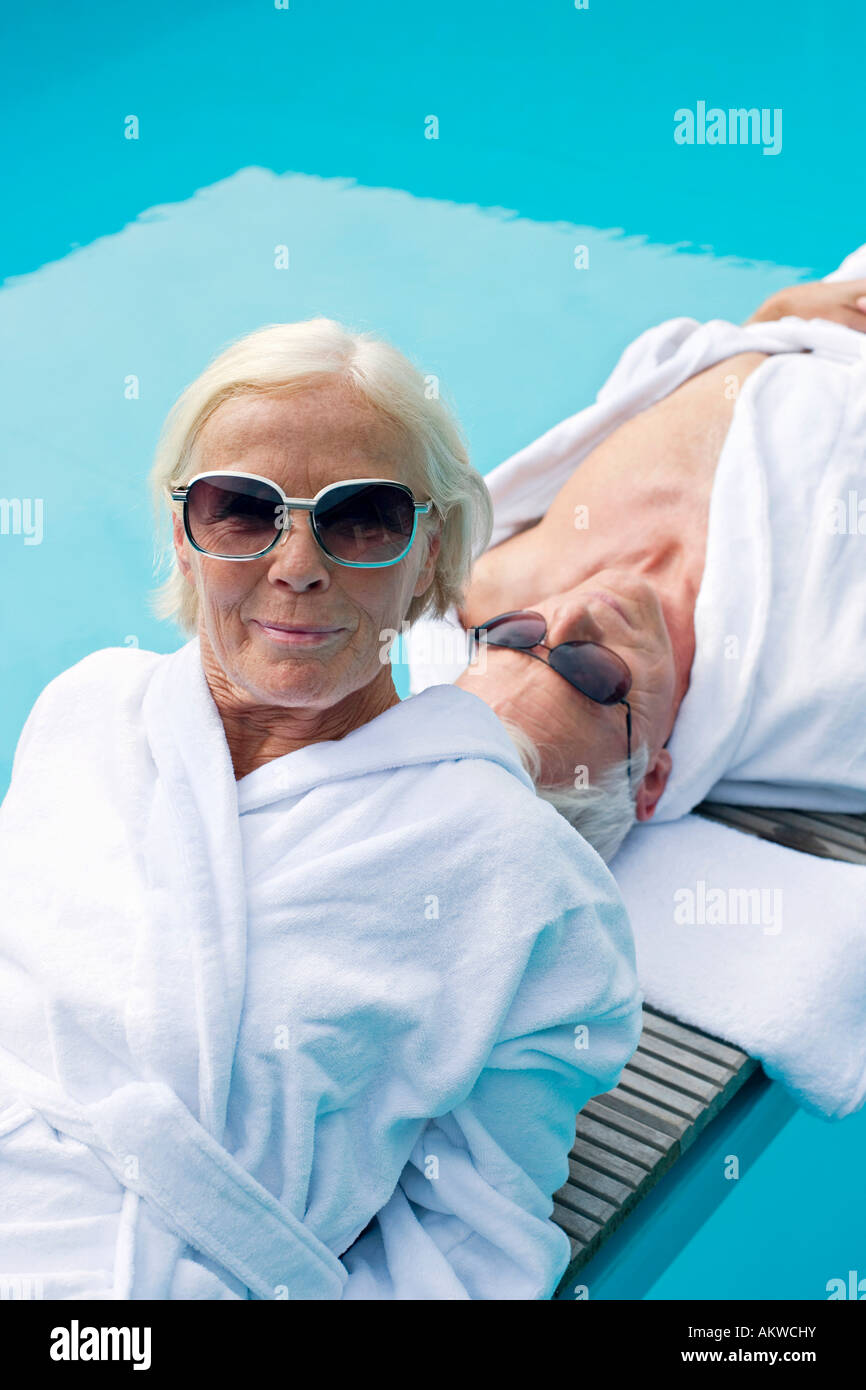 Germany, Senior Couple relaxing - Stock Image