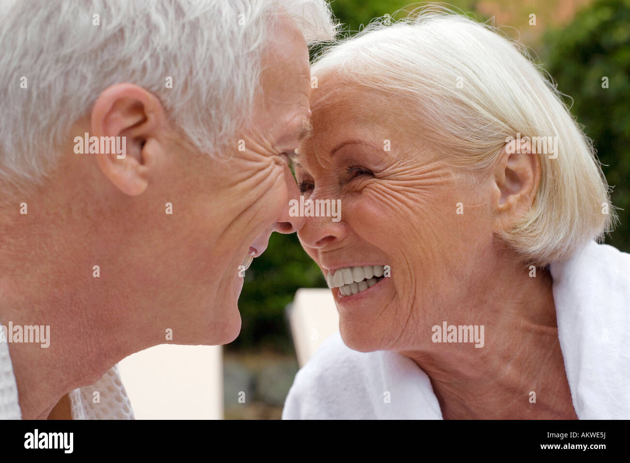 Germany, senior couple, face to face, portrait - Stock Image