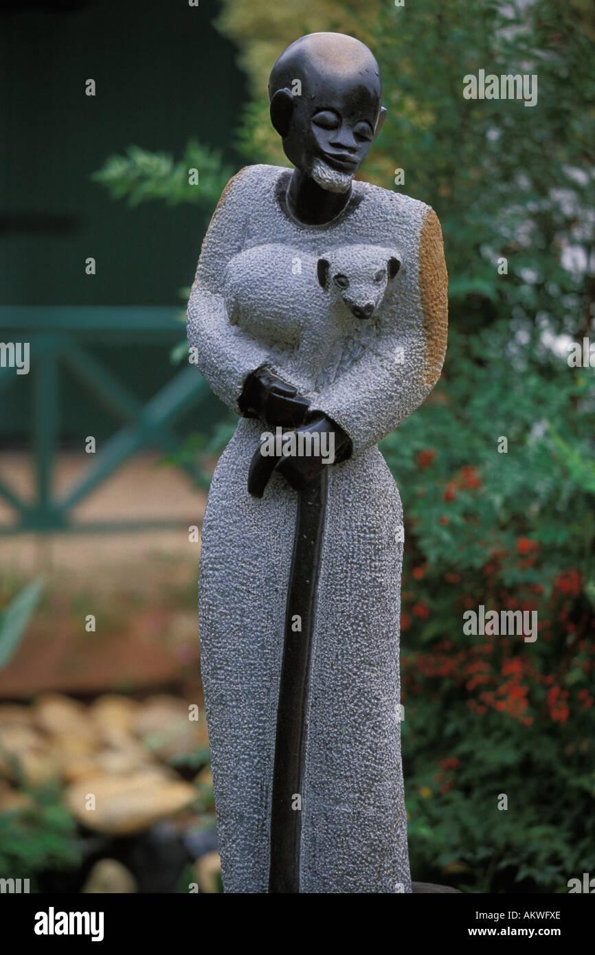 African Art, Sculpture, Jesus the Good Shepherd Stock Photo
