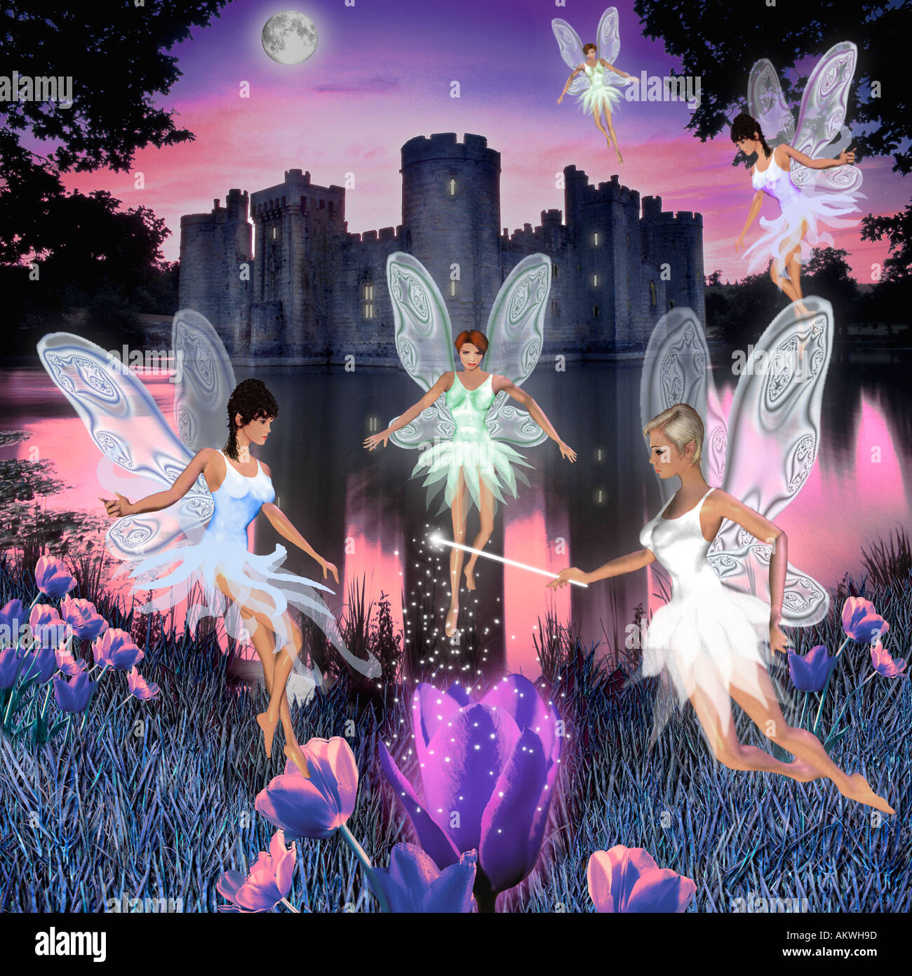 fairies dancing hovering in air at night with castle behind twilight dusk purple blue - Stock Image