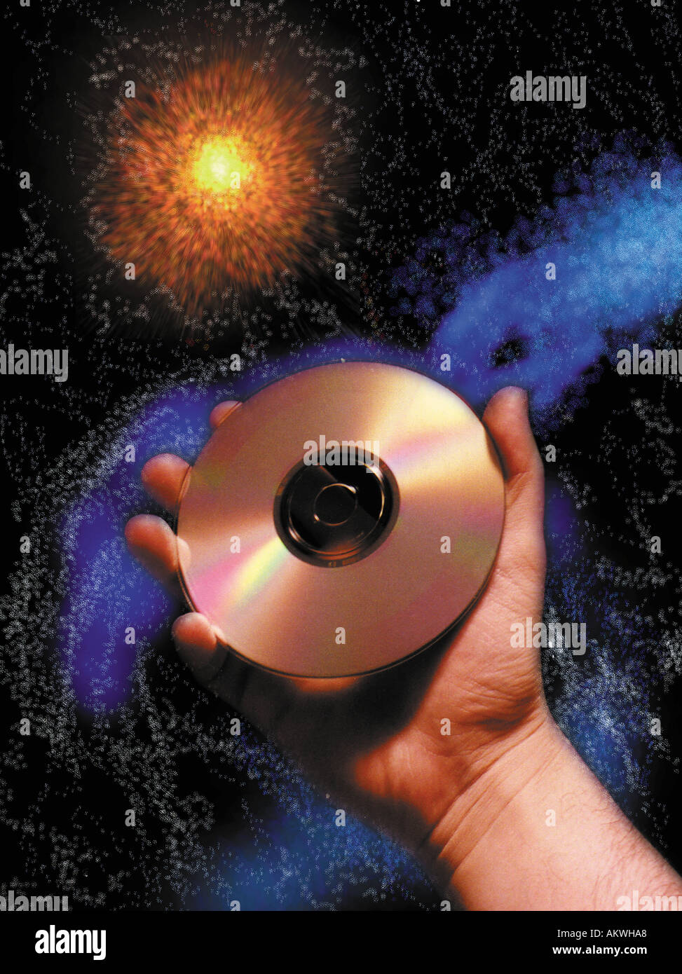 compact disks cd s floating in space concept abstract photo illustration - Stock Image