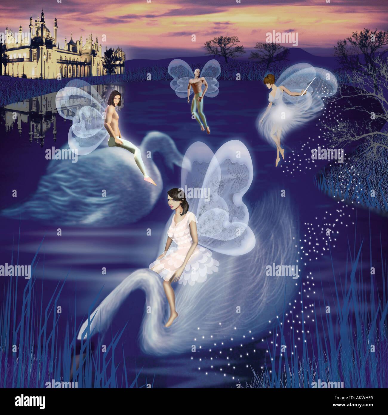 photo illustration fairies sitting on swans gliding through air water royal pavilion brighton in background  illuminated - Stock Image