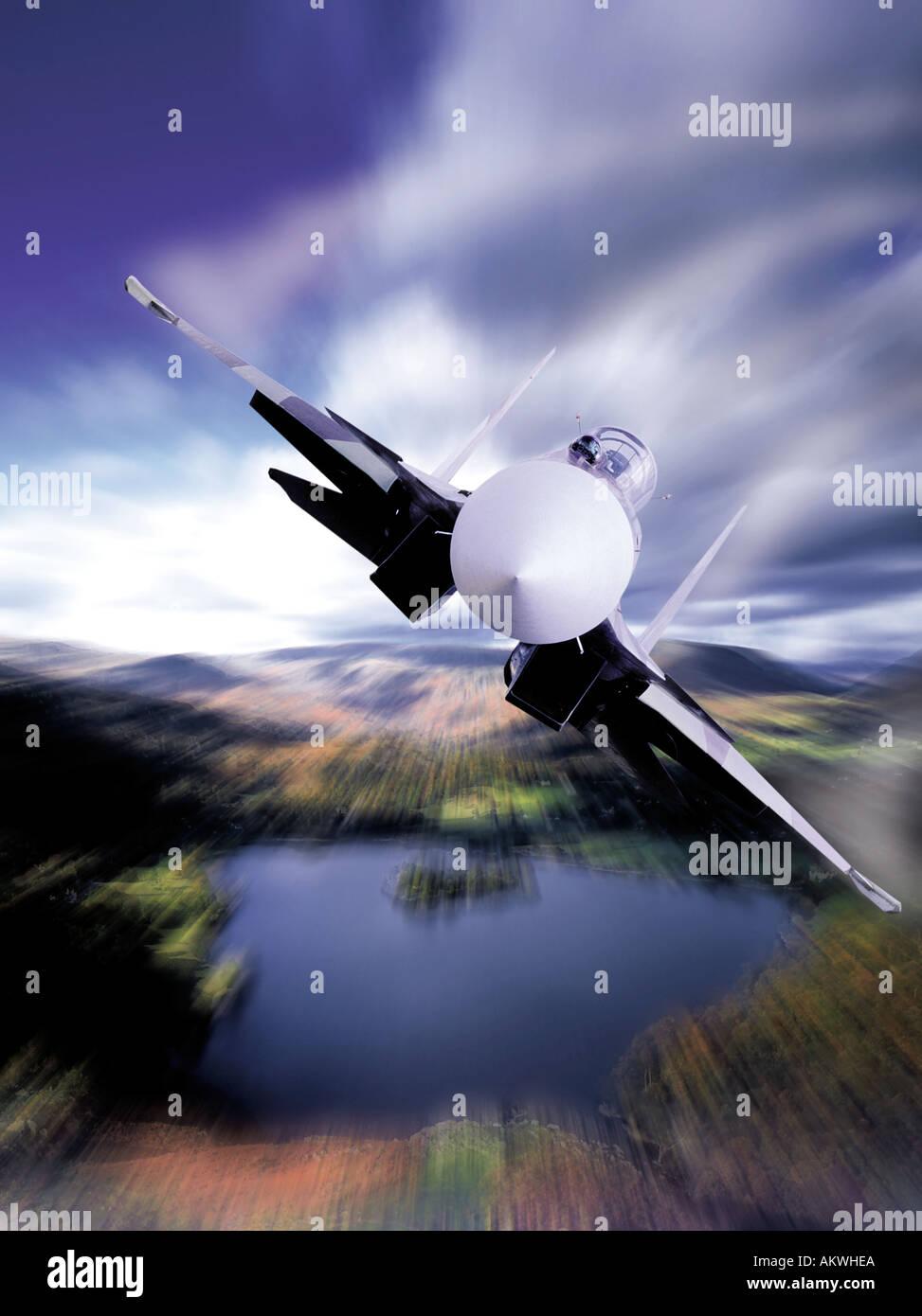 fighter jet plane tornado flying low over hills lake district grasmere england uk - Stock Image