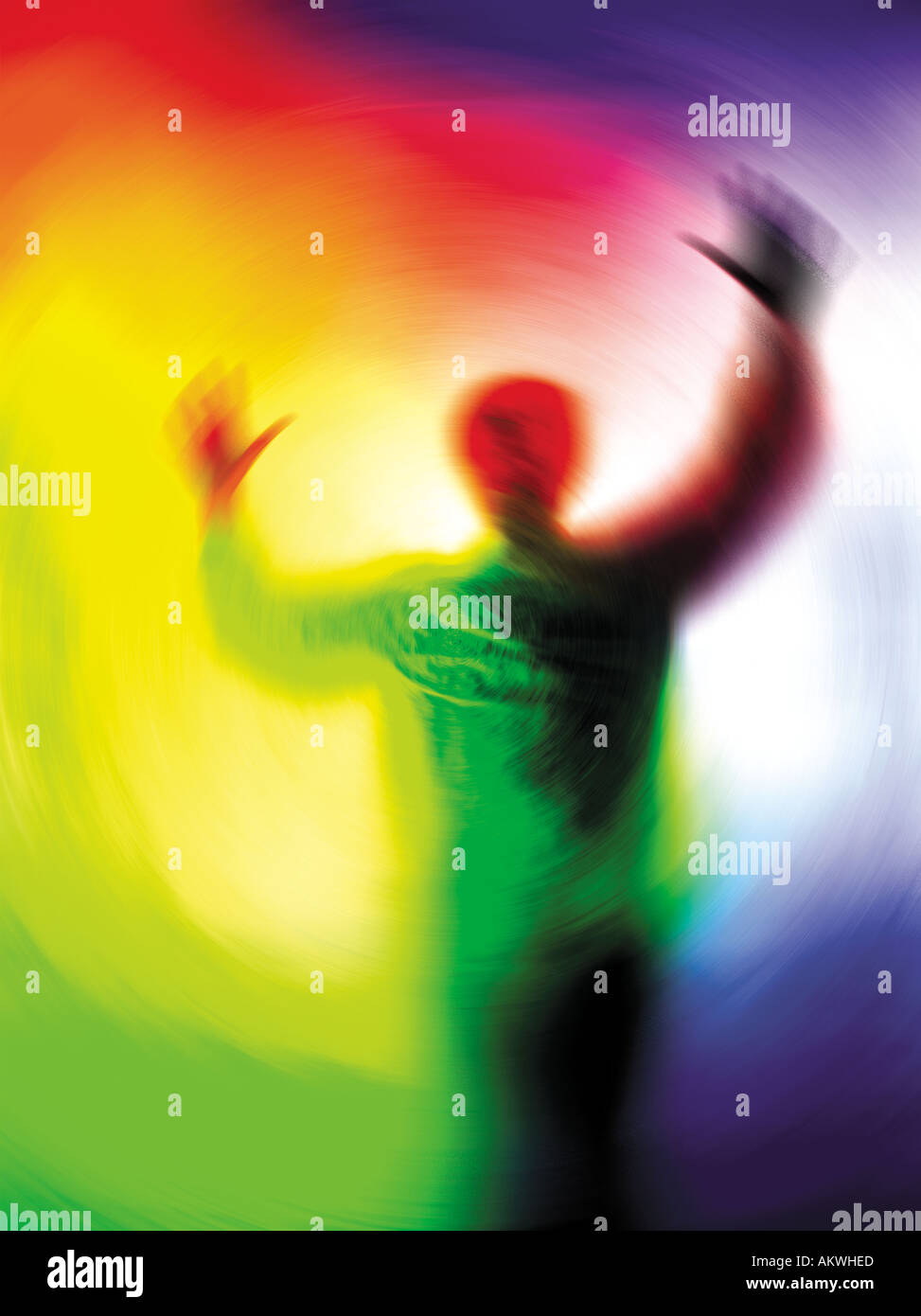 person in torment swirling around colourful background abstract concept illustration - Stock Image