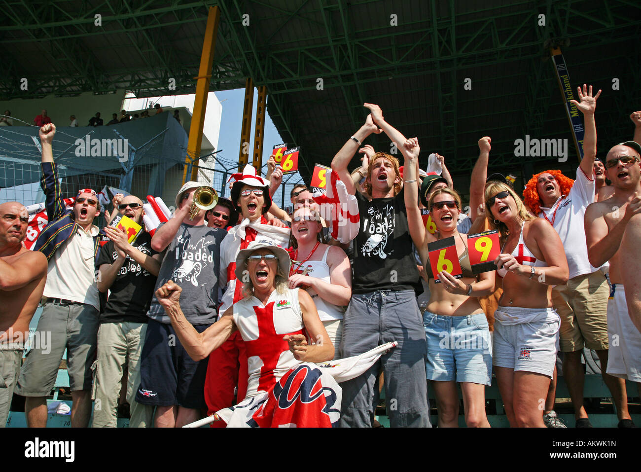 barmy army england cricket fans singing song - Stock Image