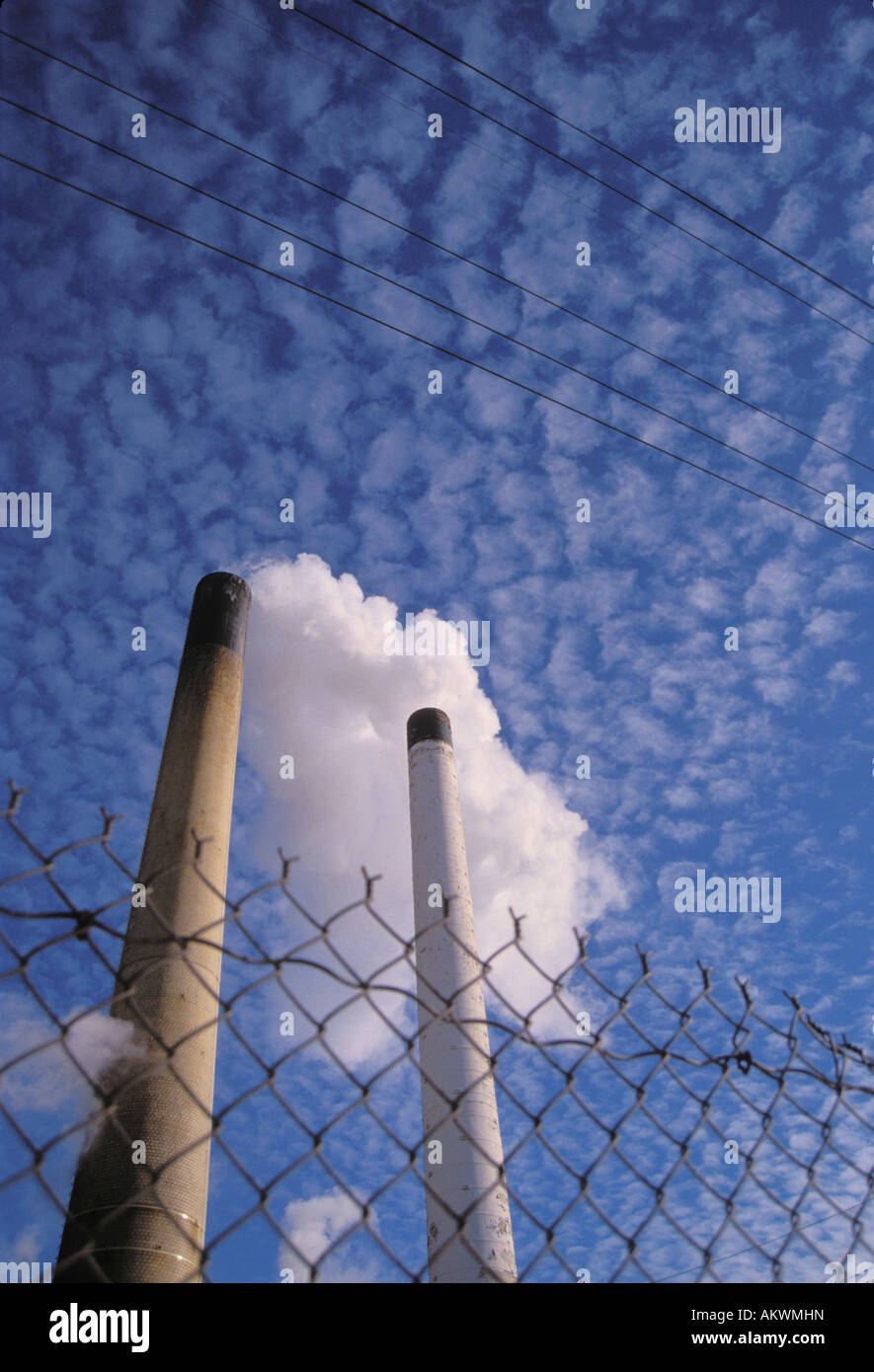Smokestacks from Coal fired Power plant - Stock Image